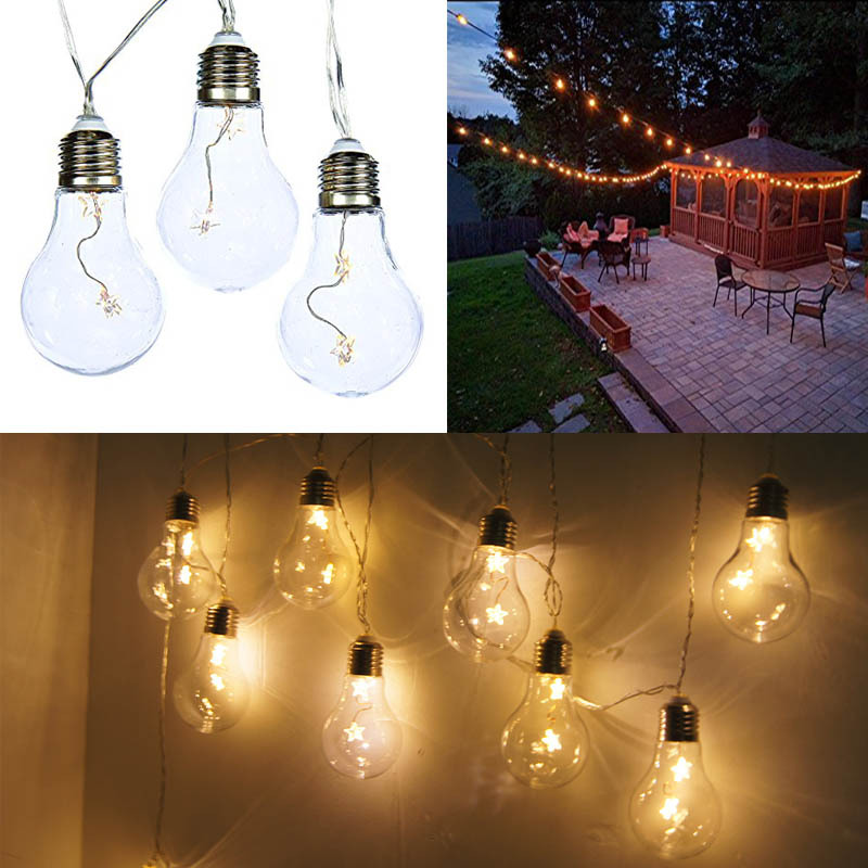 Battery Powered Vintage Edison Bulb String Lights Garden