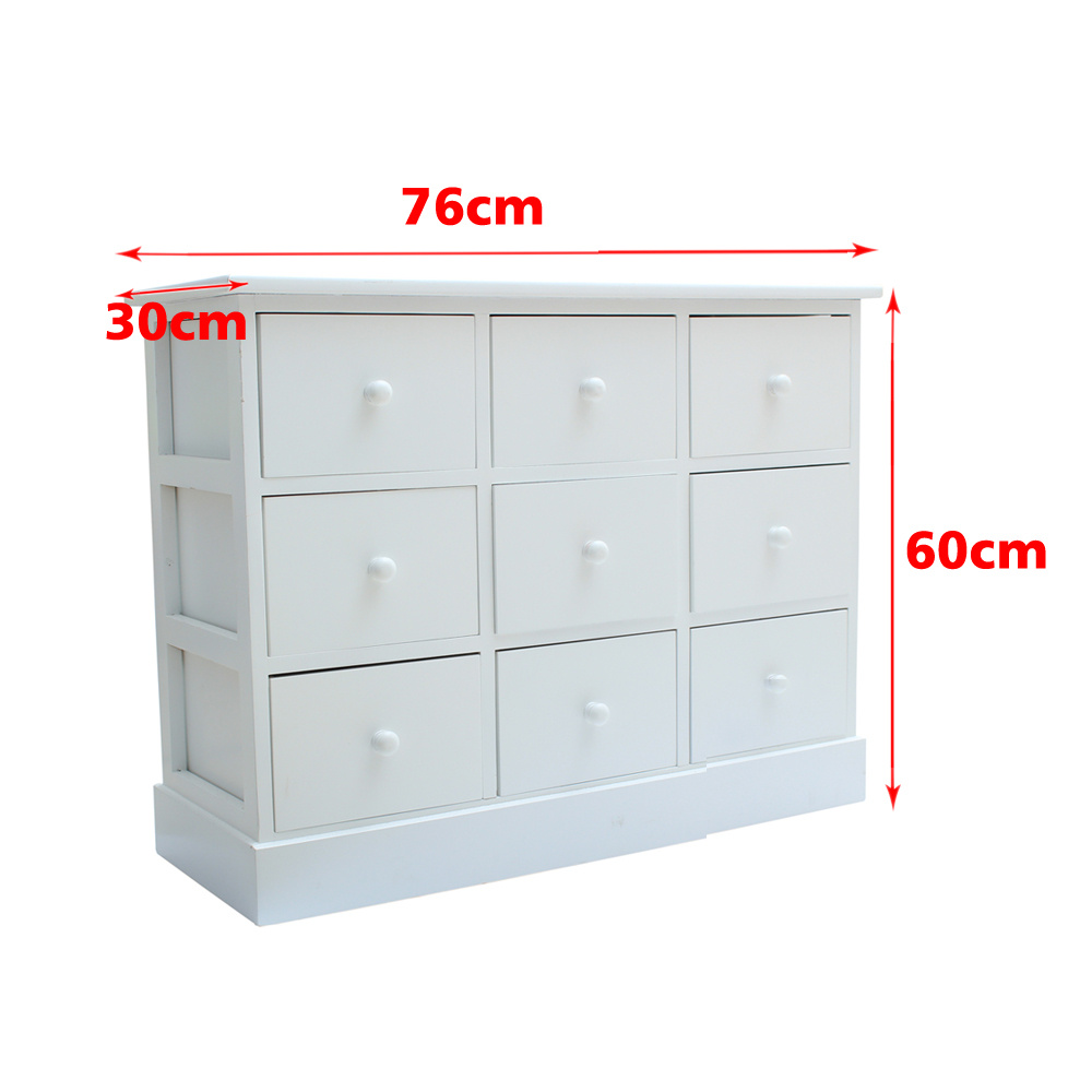 Large Chest Of Drawers Bedroom Furniture White Wood Storage Unit 9 Drawer Tab