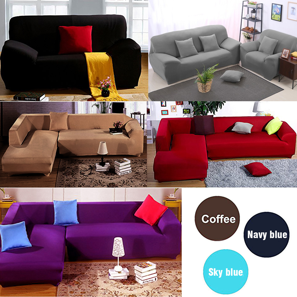 Sofa Couch Slip Over Easy Fit Stretch Covers Elastic Fabric Fit Settee Protector Ebay