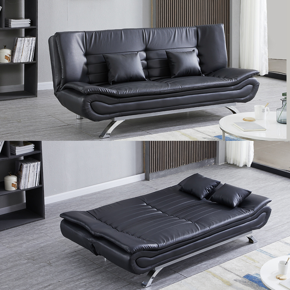 Modern Fabric Sofa Bed 3 Seater Click Clack Sofa Settee Recliner Couch with Wooden Legs for Living Room//Guest Room//Office