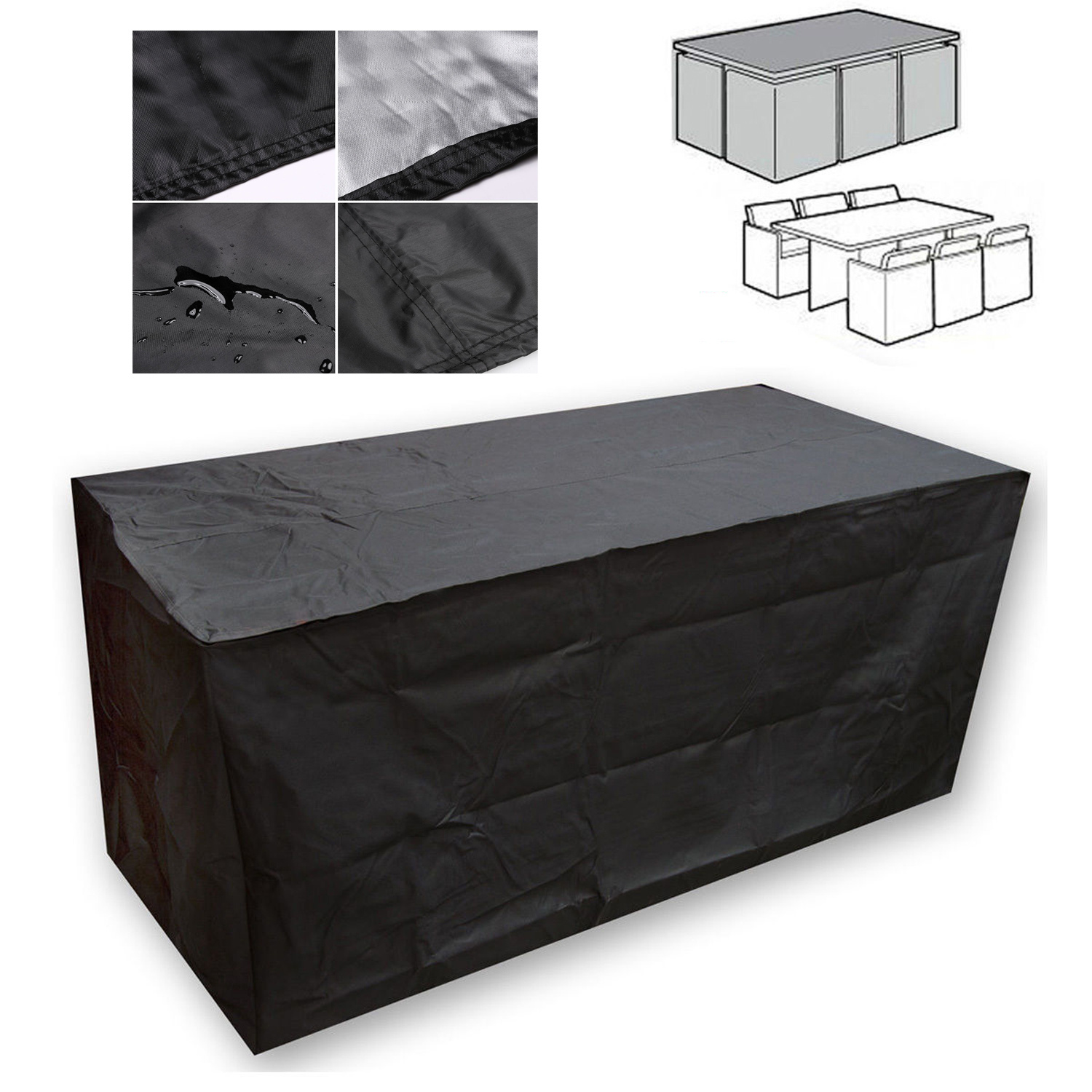 Black Waterproof Patio Furniture Cover for Outdoor Garden Rattan Table Chair Set