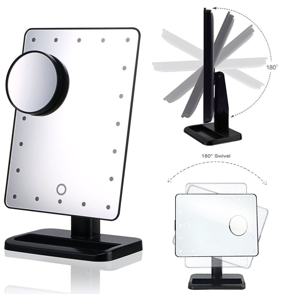 touch screen 20 led lighted makeup mirror with removable 10x magnifying mirrors ebay. Black Bedroom Furniture Sets. Home Design Ideas