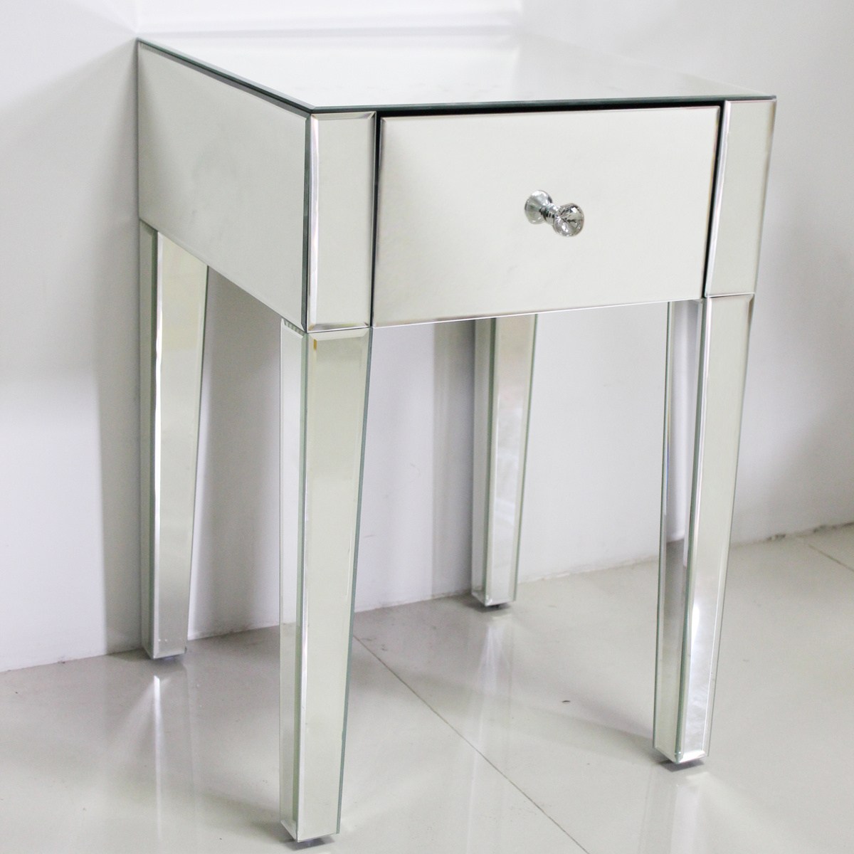 Glass mirrored chrome bedside table side cabinet 1 drawer for Mirror 40cm wide