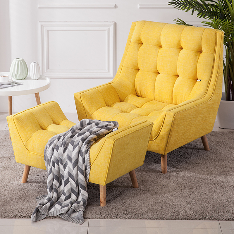 Details about Modern Curved Back Yellow Leisure Sofas Fabric Armchairs  Living Room w/Footstool