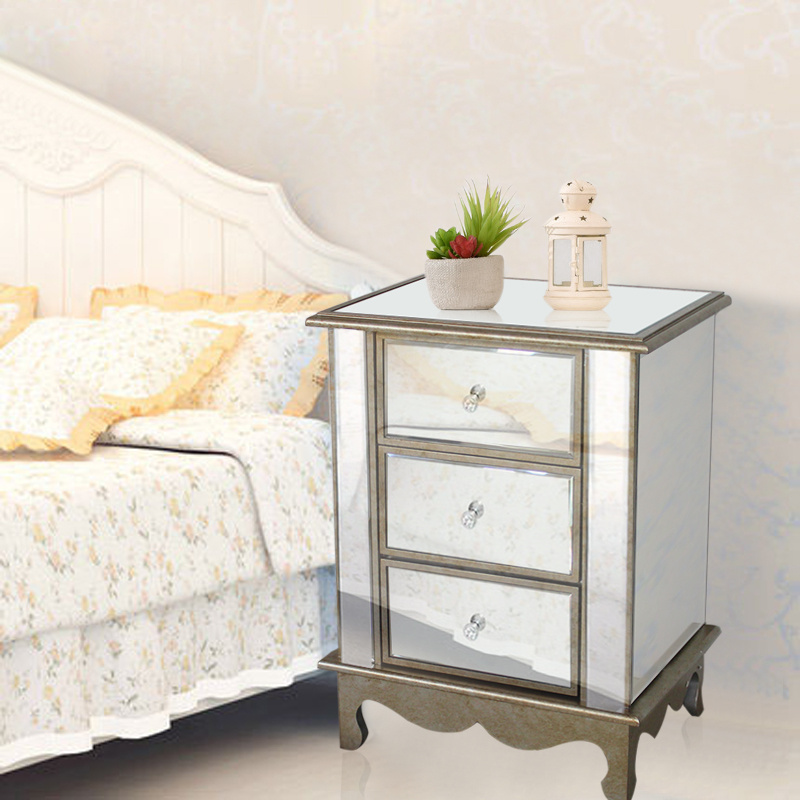 Bedroom Furniture Mirrored Bedside Cabinets Bed Side Table Chest Of Drawers Uk Ebay
