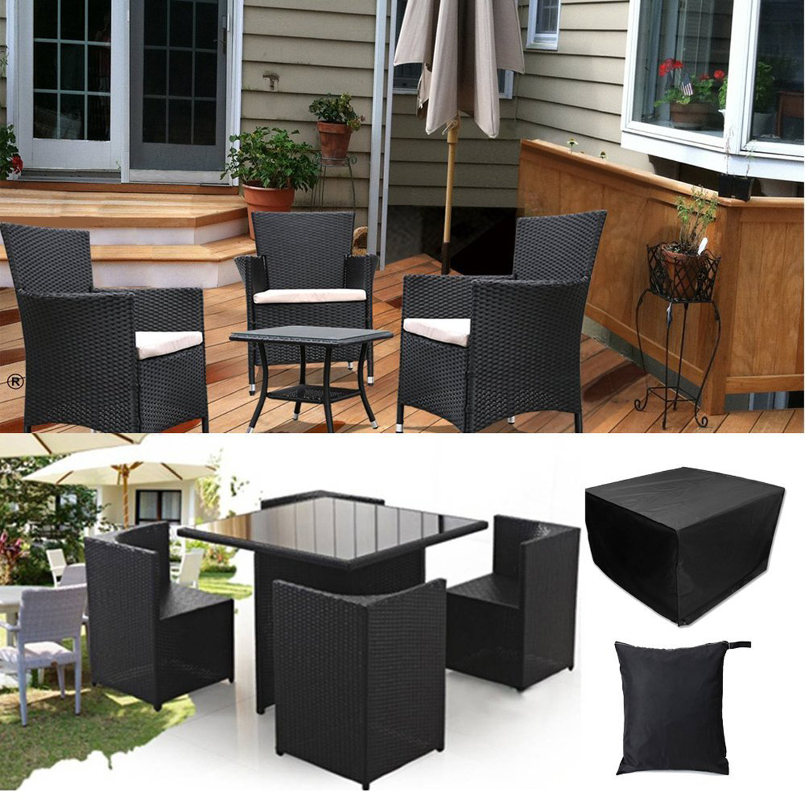 4 Seater Cube Rattan Wicker Furniture Set Outdoor Waterproof Protective UV Co