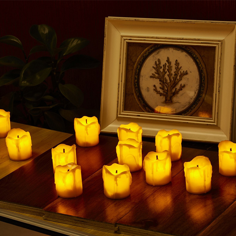 12 24x flickering smokeless fake dripping wax candle battery operated tea lights ebay. Black Bedroom Furniture Sets. Home Design Ideas