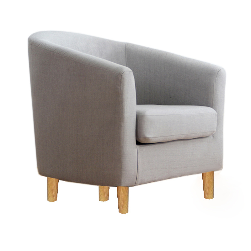 Grey linen fabric single seater sofa tub arm chair dining for Grey single chair