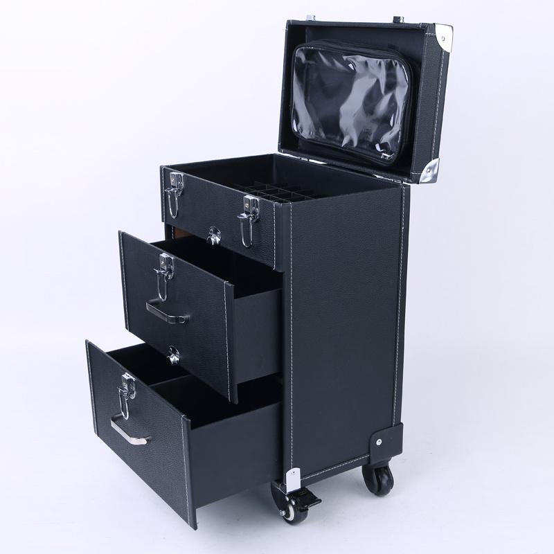 Beauty Nail Technician Dresser Makeup Vanity Case Cosmetics Trolley Carry Box Uk