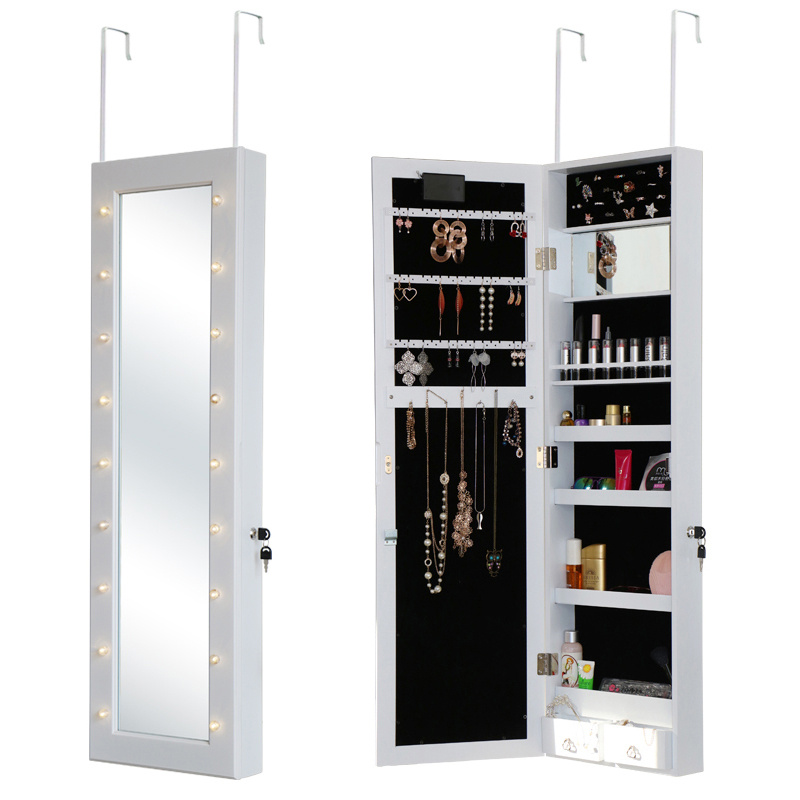 Leds Light Mirrored Jewelry Cabinet, Wall Hanging Mirror Jewelry Cabinet