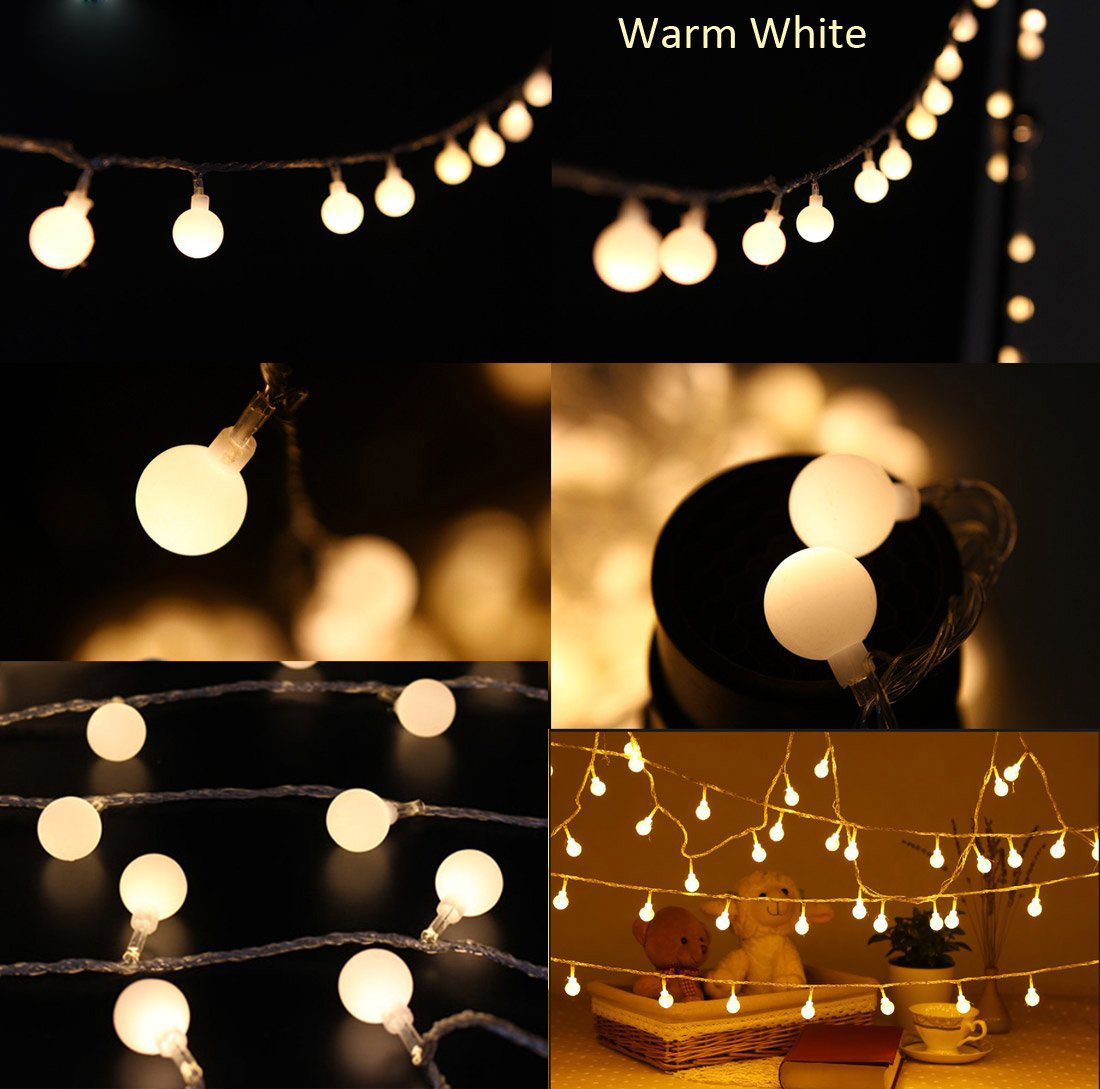 Globe String Lights For Bedroom : 10M Fairy String Lights 100 Globe Ball Indoor Outdoor Wedding Party Bedroom Xmas eBay