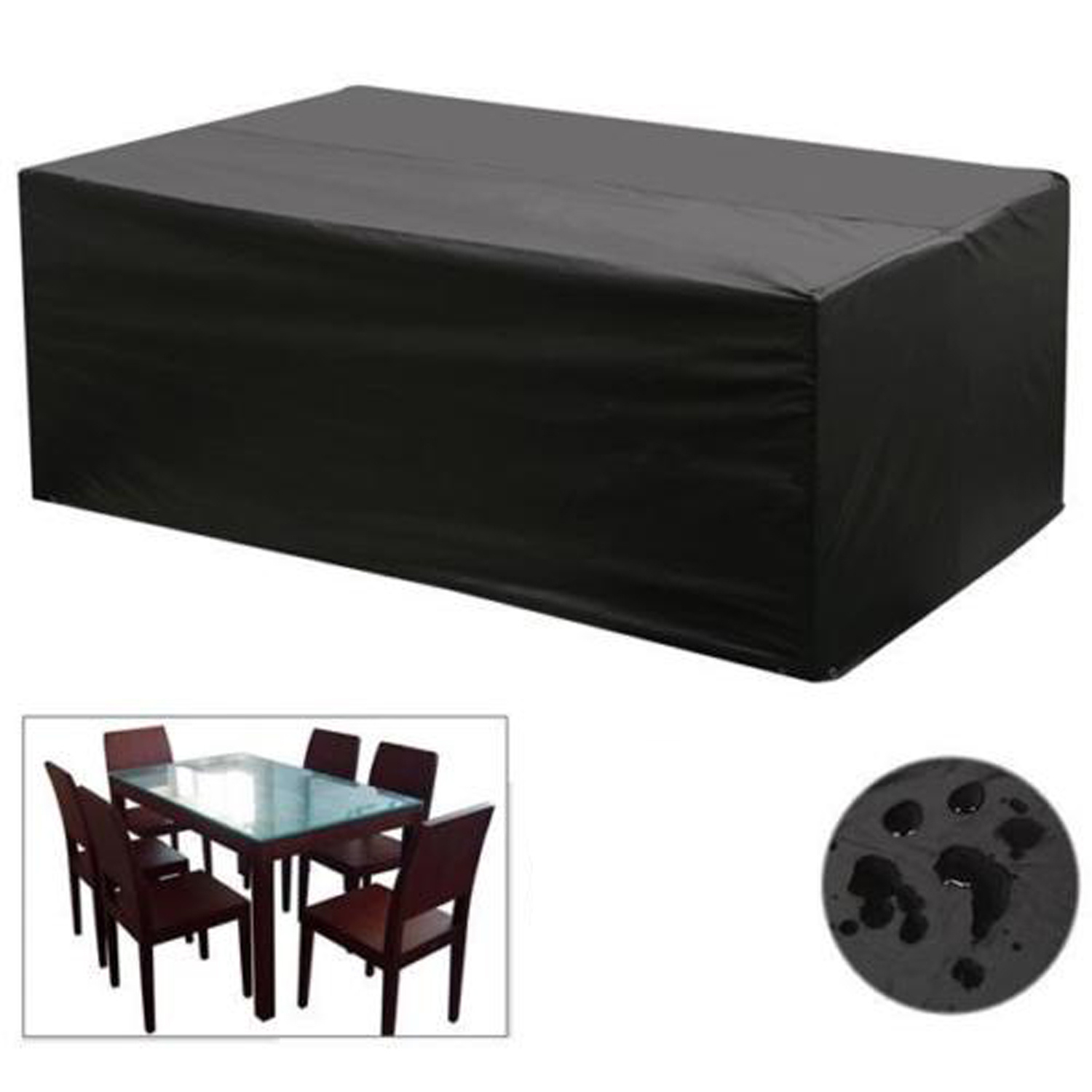 Black waterproof patio furniture cover for outdoor garden for Outdoor furniture covers in black