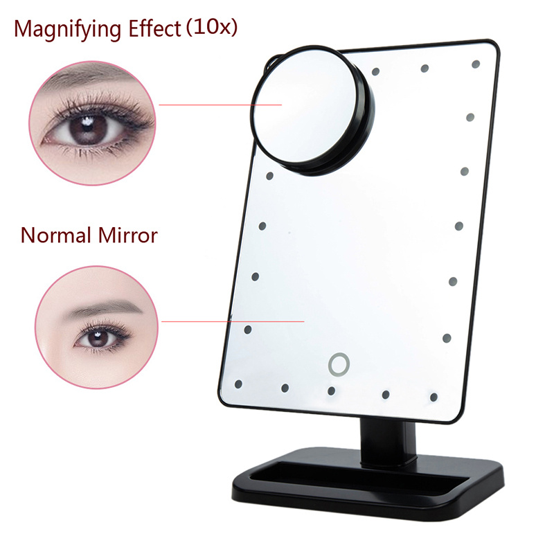 10x magnifying lighted touch screen 20 leds makeup vanity table dressing mirrors ebay. Black Bedroom Furniture Sets. Home Design Ideas