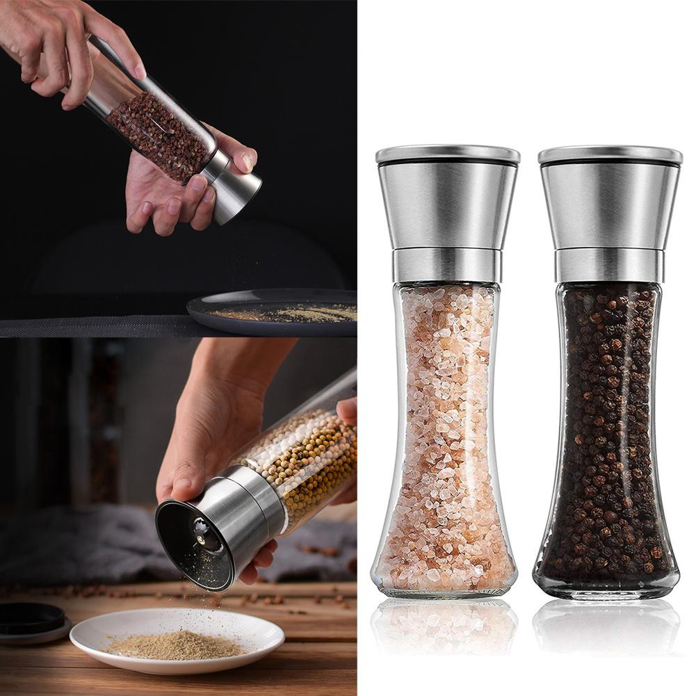 2x Kitchen Salt Pepper Mill Set Hand Manual Grinder Shaker ...