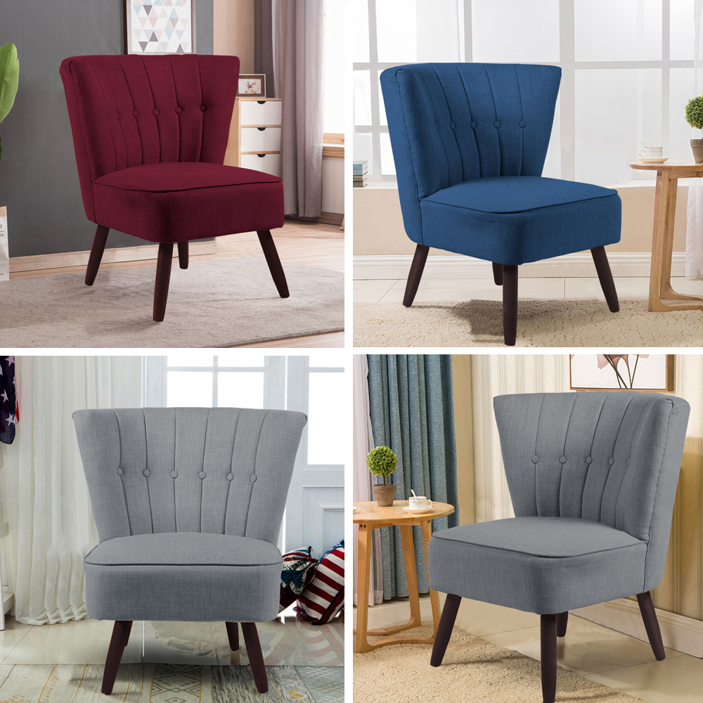 Luxury Upholstered Fabric Dinning Chair Large Single Chairs Bedroom Dress Chairs Ebay