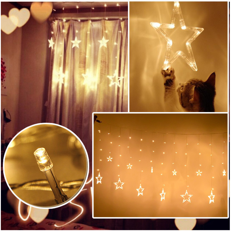 2M LED String Fairy Lights Curtain Net Wall Lamp + 12 Stars Wedding Xmas Decor eBay