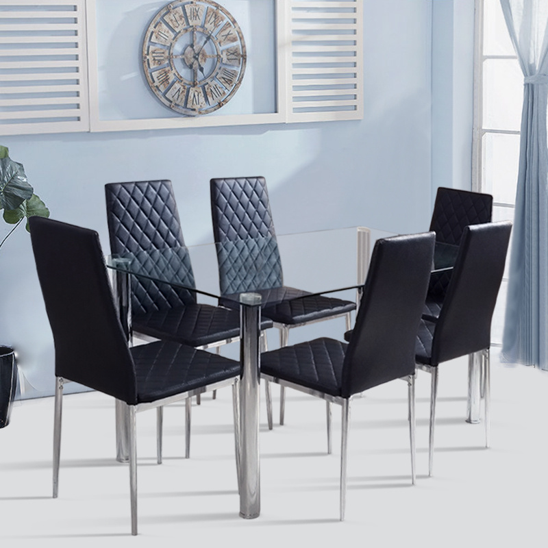 6 Seater Transparent Glass Kitchen Table And 6 Chairs Living Dining Room Unit Uk Ebay