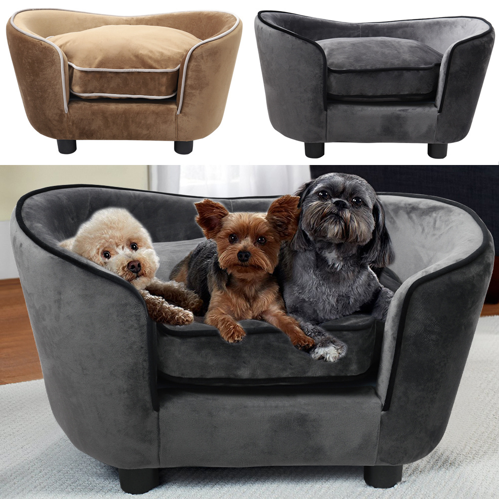 Plush Pet Sofa Couch Dog Cat Wooden