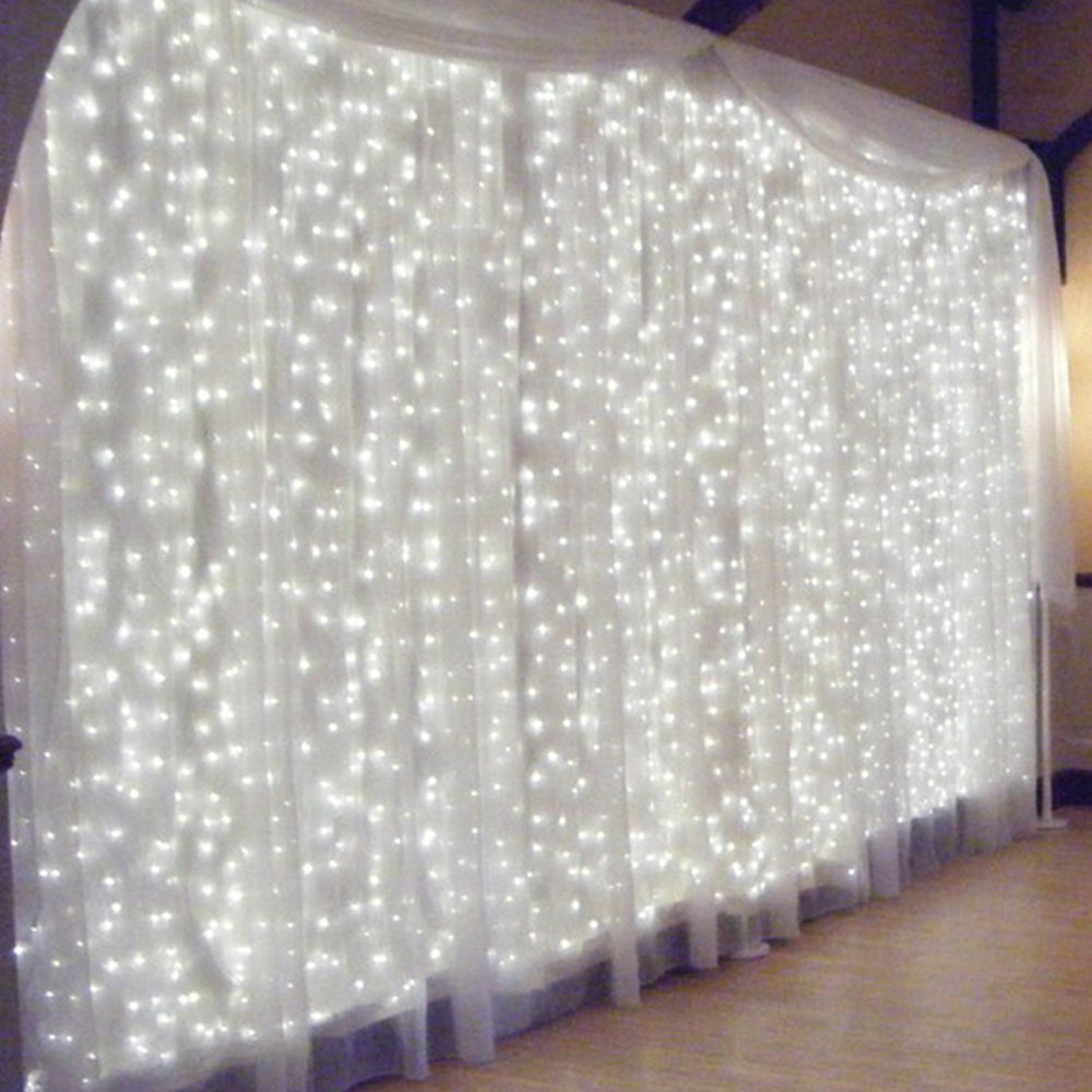 Connectable m led white light curtain string fairy
