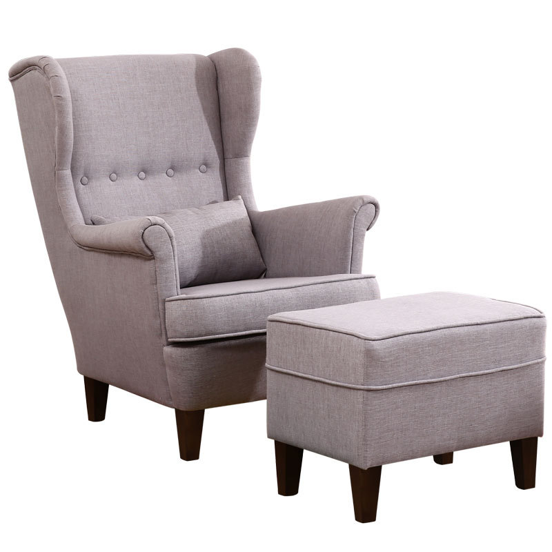 Button Back Home Office Leisure Sofa Upholstered Armchairs Sofa with Wooden Legs