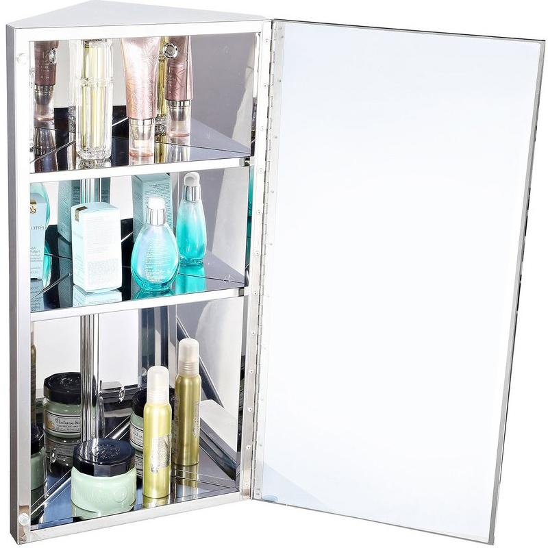 Stainless Steel Wall Hung Bathroom Corner Mirror Storage