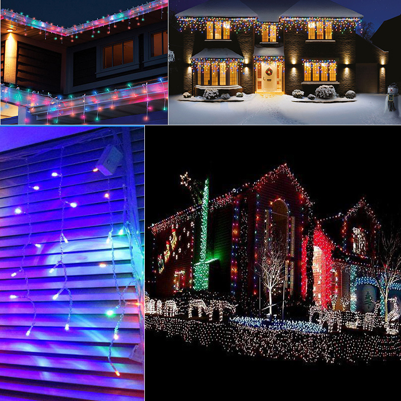 Warm White 7M 144Led Icicle Christmas Outdoor Indoor Fairy Lights Hanging 8 Mode eBay