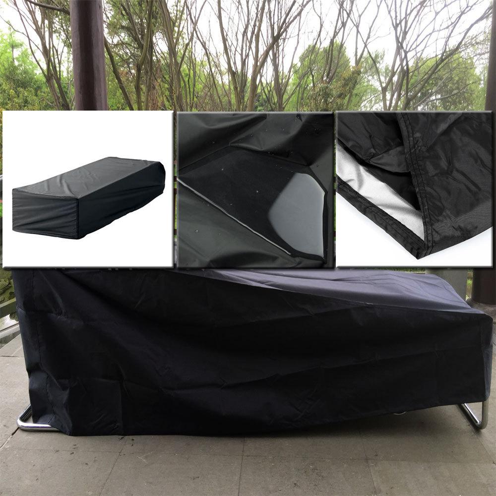 210cm Sunbed Sun Lounger Cover Black Patio Garden