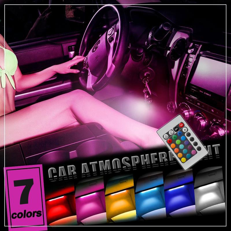 4 9 led strip light 12v car interior mood lights atmosphere ir remote control ebay for Interior car light laws california
