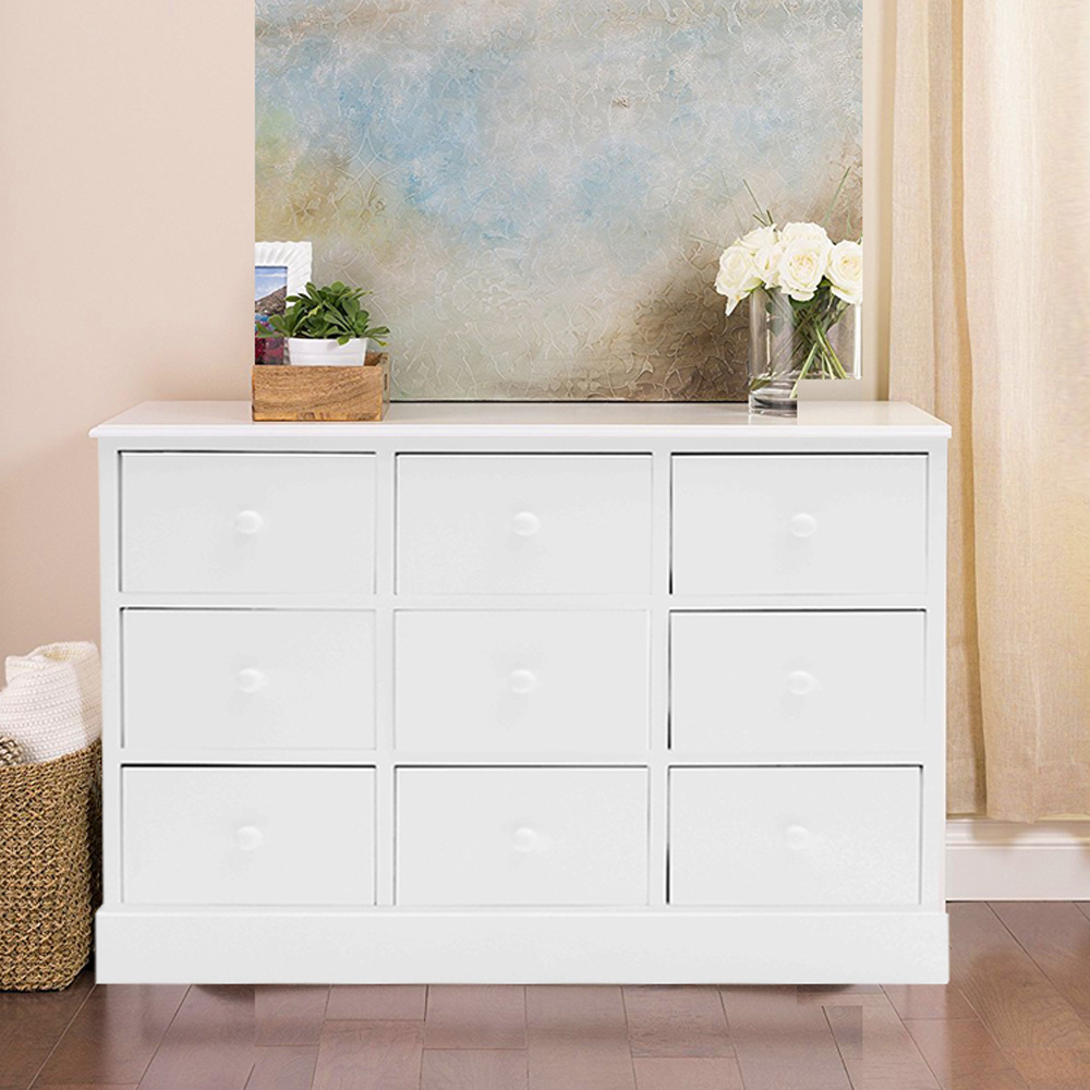Large chest of drawers bedroom furniture white wood storage unit 9 drawer table ebay for Bedroom set with storage drawers