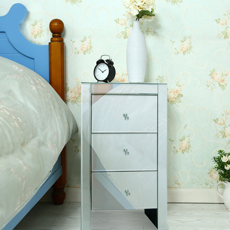2pieces venetian glass 3 drawer bedside cabinet table mirrored chest