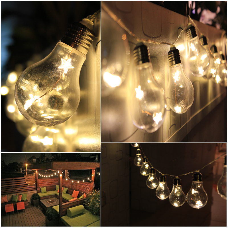 Battery Large Festoon Bulb String Fairy Lights Backyard Warm 2M 20 LED Christmas eBay