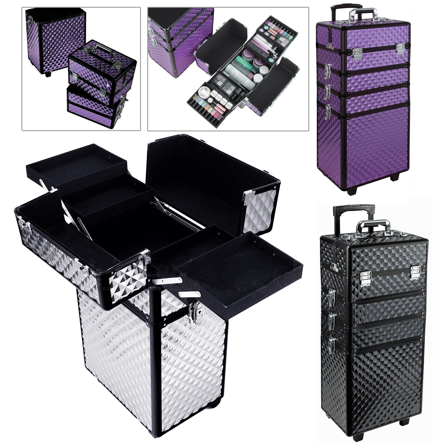 4 in 1 Hairdressing Makeup Beauty Nail Art Beautician Case Box ...