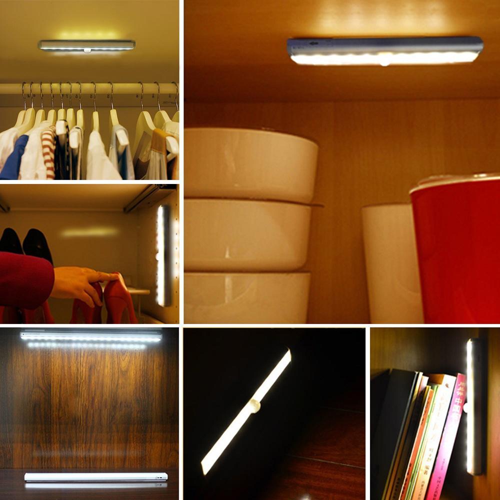 cordless battery pir motion activated led under wardrobe. Black Bedroom Furniture Sets. Home Design Ideas