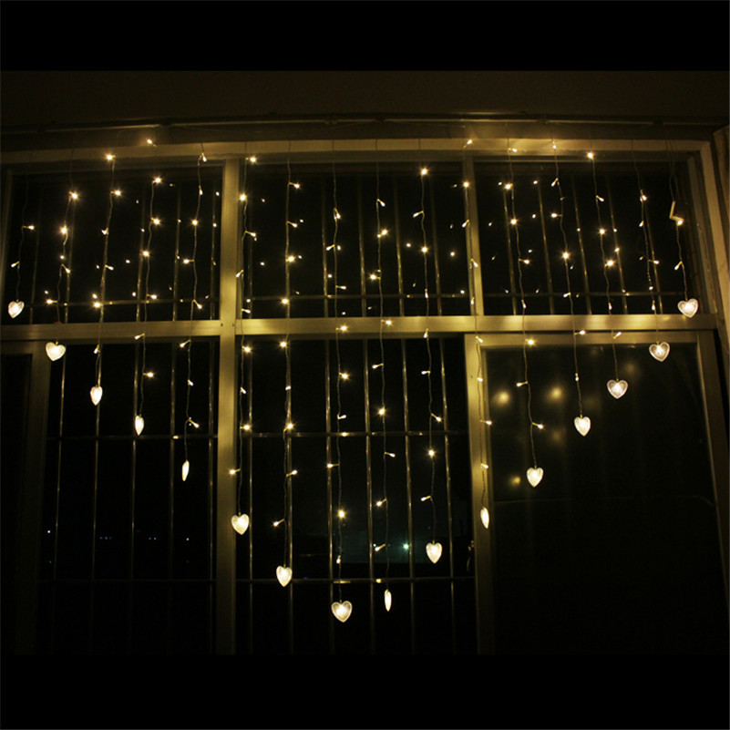 1 5M 128 LED String Fairy Heart Twinkle Lights Indoor