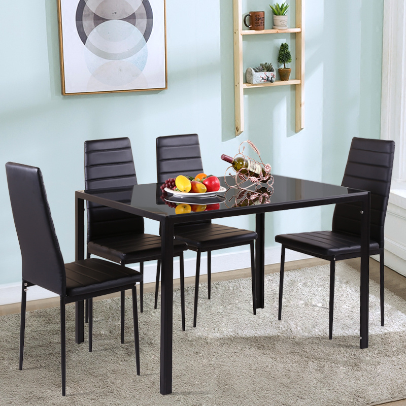 Marvelous Details About Dining Room Table Set Faux Leather Chair For Decor Furniture Home Kitchen Black Download Free Architecture Designs Scobabritishbridgeorg