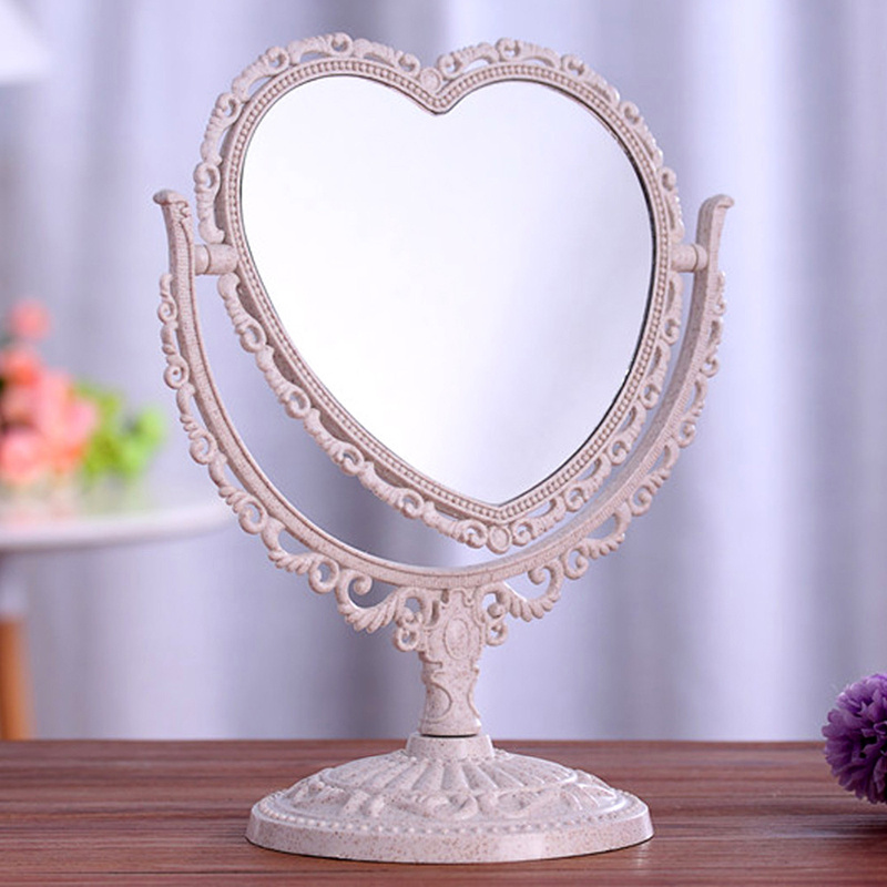 Vintage Desktop Rotatable Free Standing Compact Makeup Mirror Dual Size Mirrors