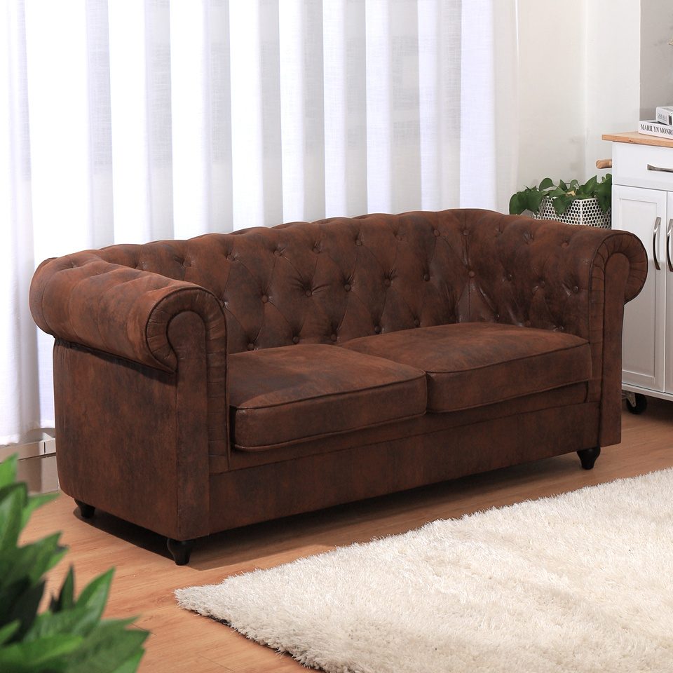 Chesterfield Velvet Distressed Tan 2 Seater Love Seat Sofa Couch Settee Chair Ebay