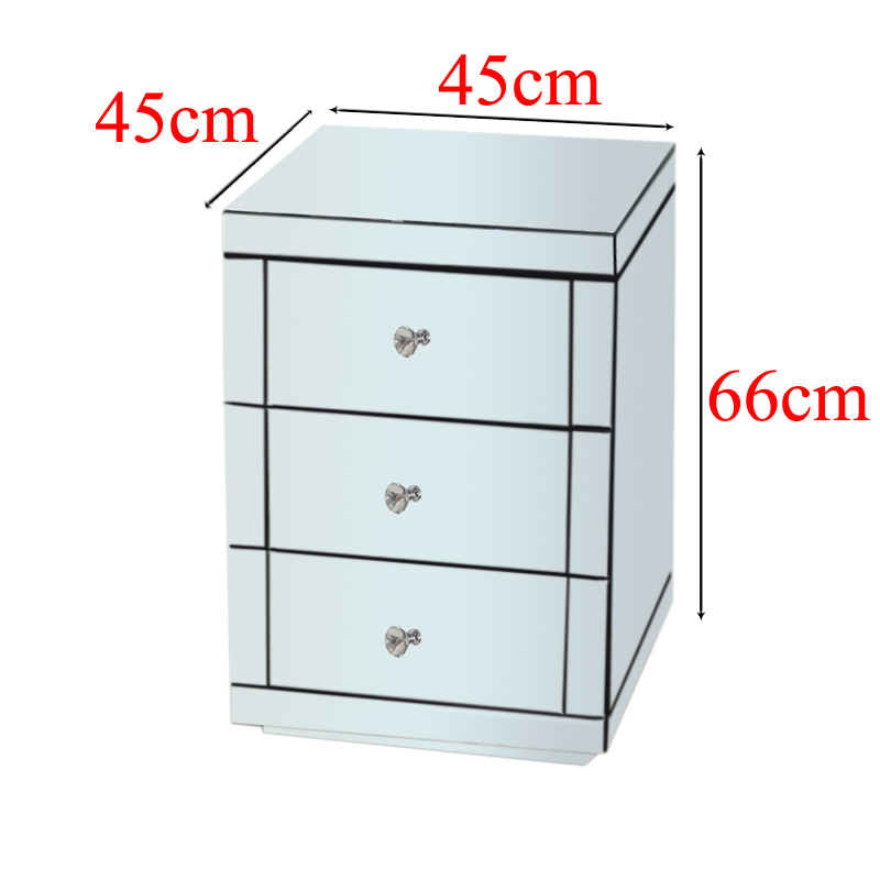 Modern 3 Drawers Mirrored Bedside Nightstand Cabinet Coffee Tables Chest Bedroom Ebay