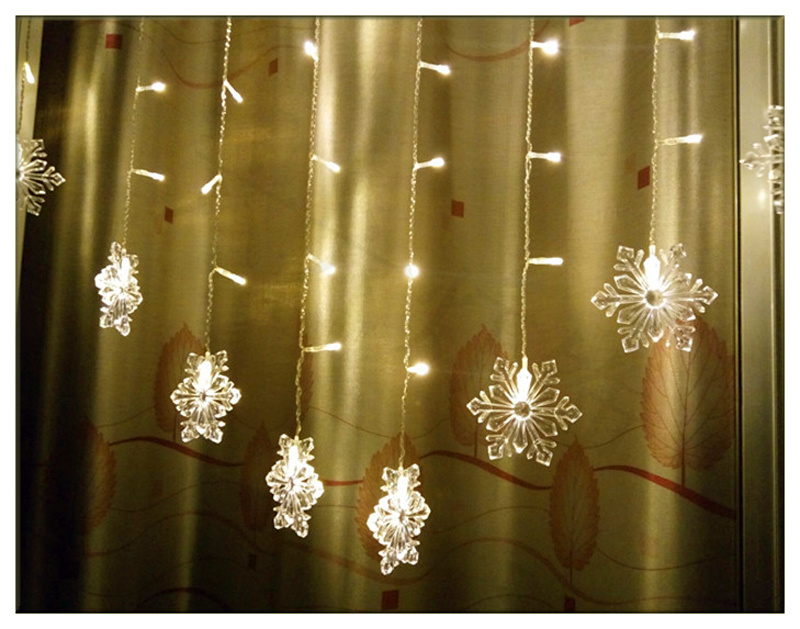 3M*1M 150LED Snowflake Icicle Snowfall Window Corridor Eaves Fairy Curtain Light eBay