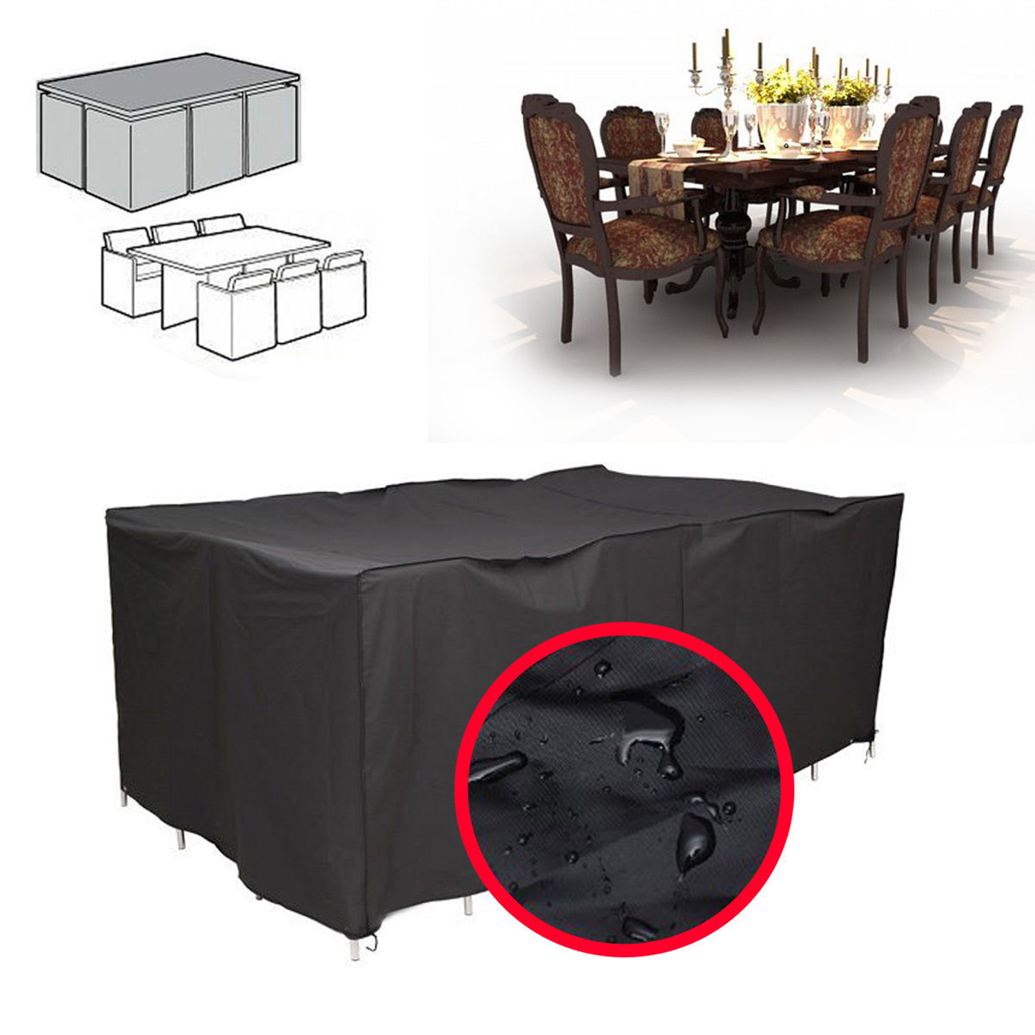 6 8 SEATER WATERPROOF RECTANGULAR GARDEN PATIO FURNITURE COVER FOR OUTDOOR TA