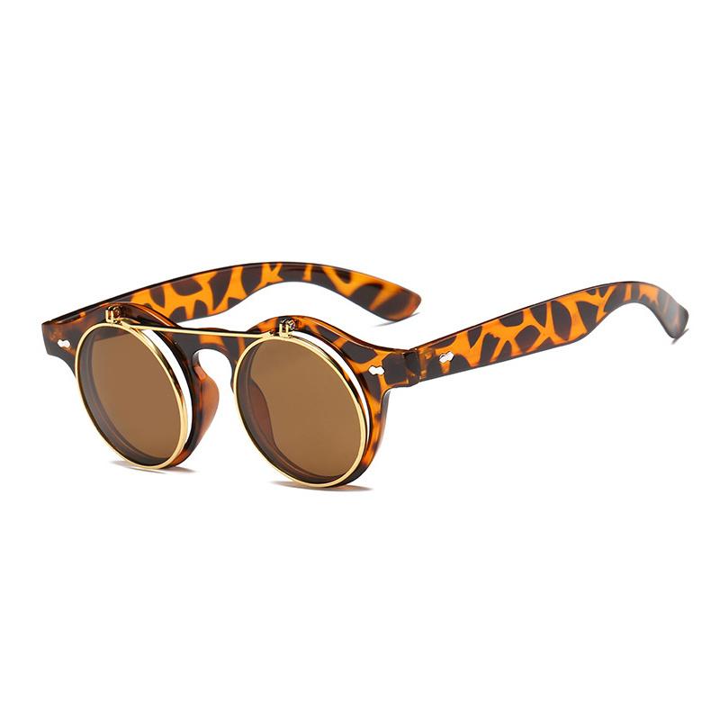 4ba3812b0b0 Steampunk Goth Goggles Glasses Retro Flip Up Round Sunglasses ...