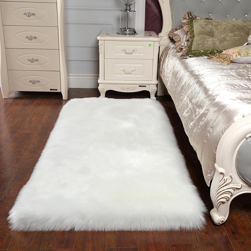 Cheap Washable Rugs Uk: Soft Sheepskin Plain Fluffy Skin Faux Fur Fake Rug Cheap