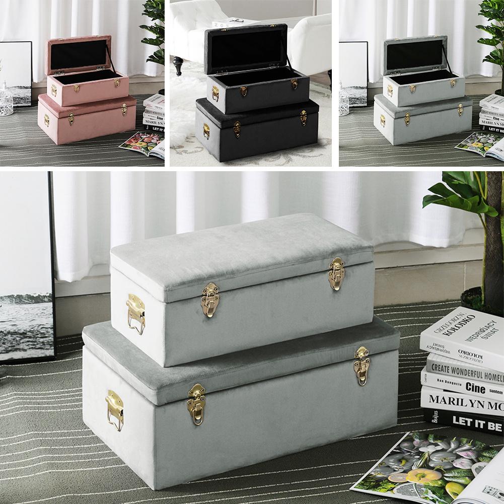 Storage Trunk Chest Pair Black Grey Pink Velvet Suitcase Box Bedroom Living Room Ebay