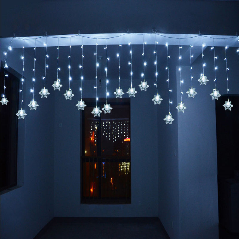 3m 1m 150led snowflake icicle snowfall window corridor. Black Bedroom Furniture Sets. Home Design Ideas