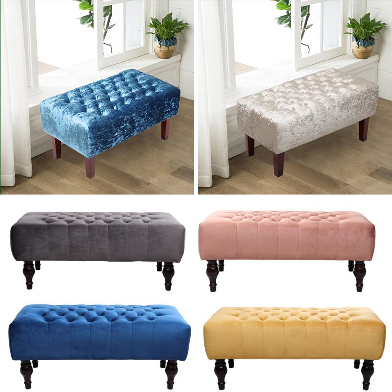 Velvet On Tufted Padded Bed Bench