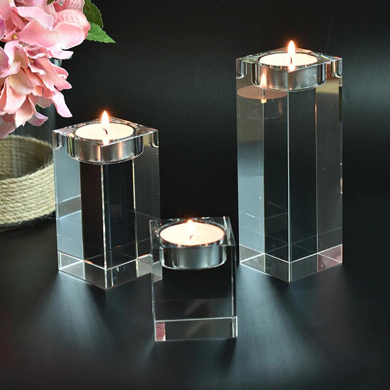 3PC Crystal Cylinder Vases Tea Light Candle Holder Glass Stand Wedding Decor Kit