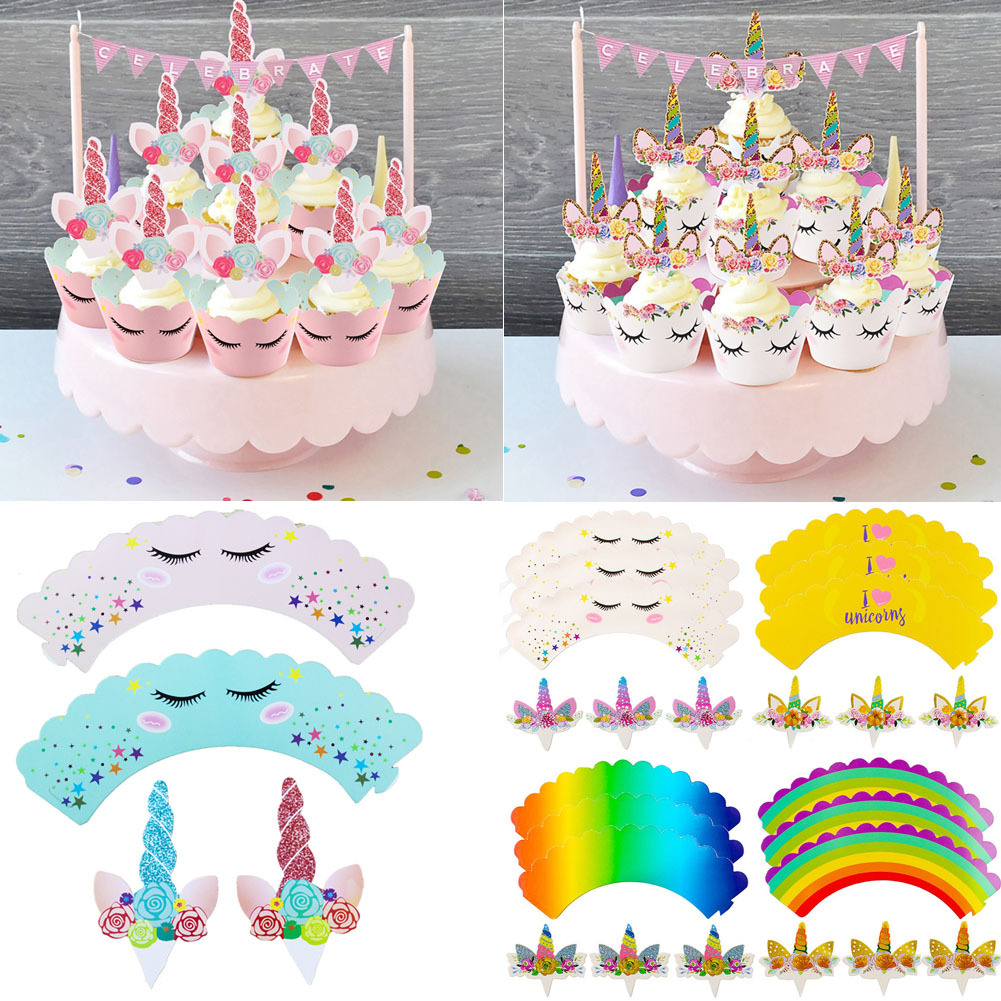 Cool 24 X Unicorn Cup Cake Muffin Cupcake Wrappers Cases Toppers Funny Birthday Cards Online Eattedamsfinfo