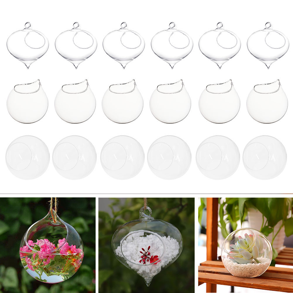 12 X Clear Round Glass Christmas Tree Baubles Spheres Ornaments Decoration 6cm by Succulent Style