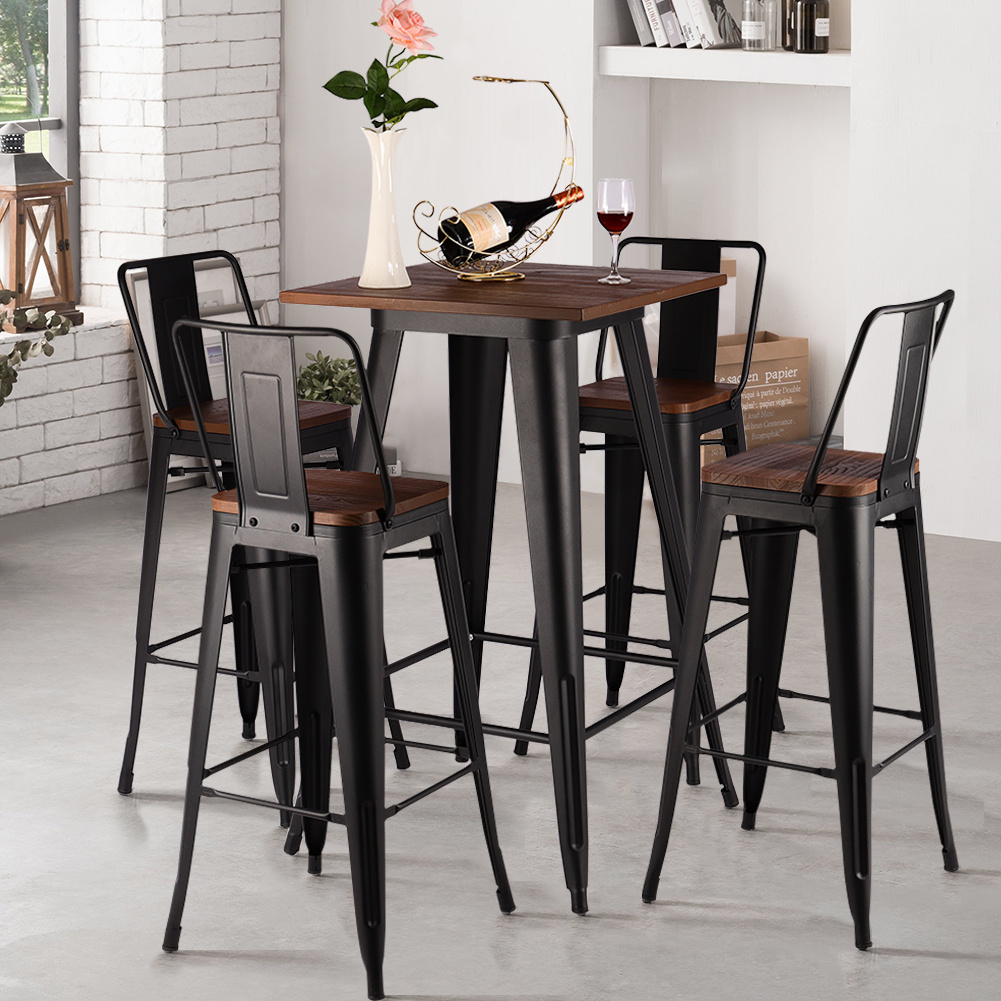 Details About Vintage 2 4 Black Bar Stools Wood Top Bistro Kitchen Dining Table Cafe Chair Set
