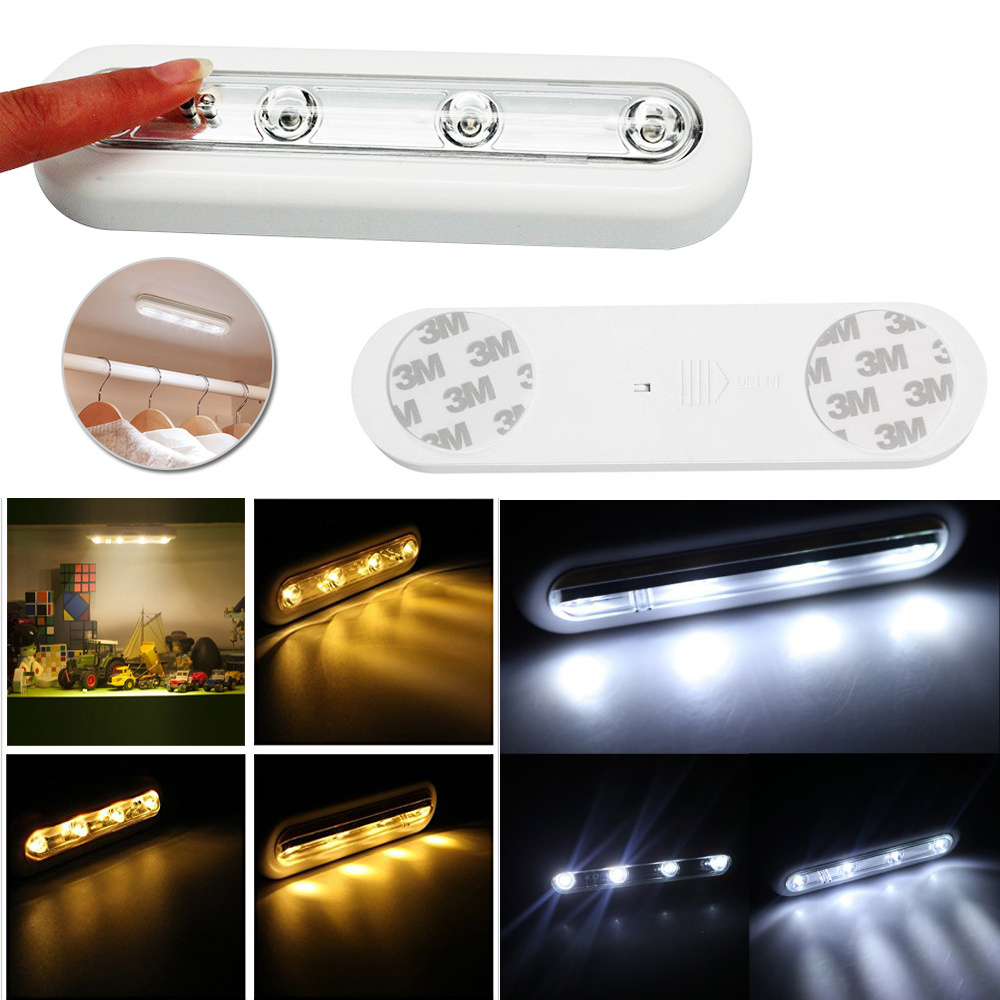 BRIGHT WHITE 4 LED PUSH LIGHT STICK ON BATTERY OPERATED